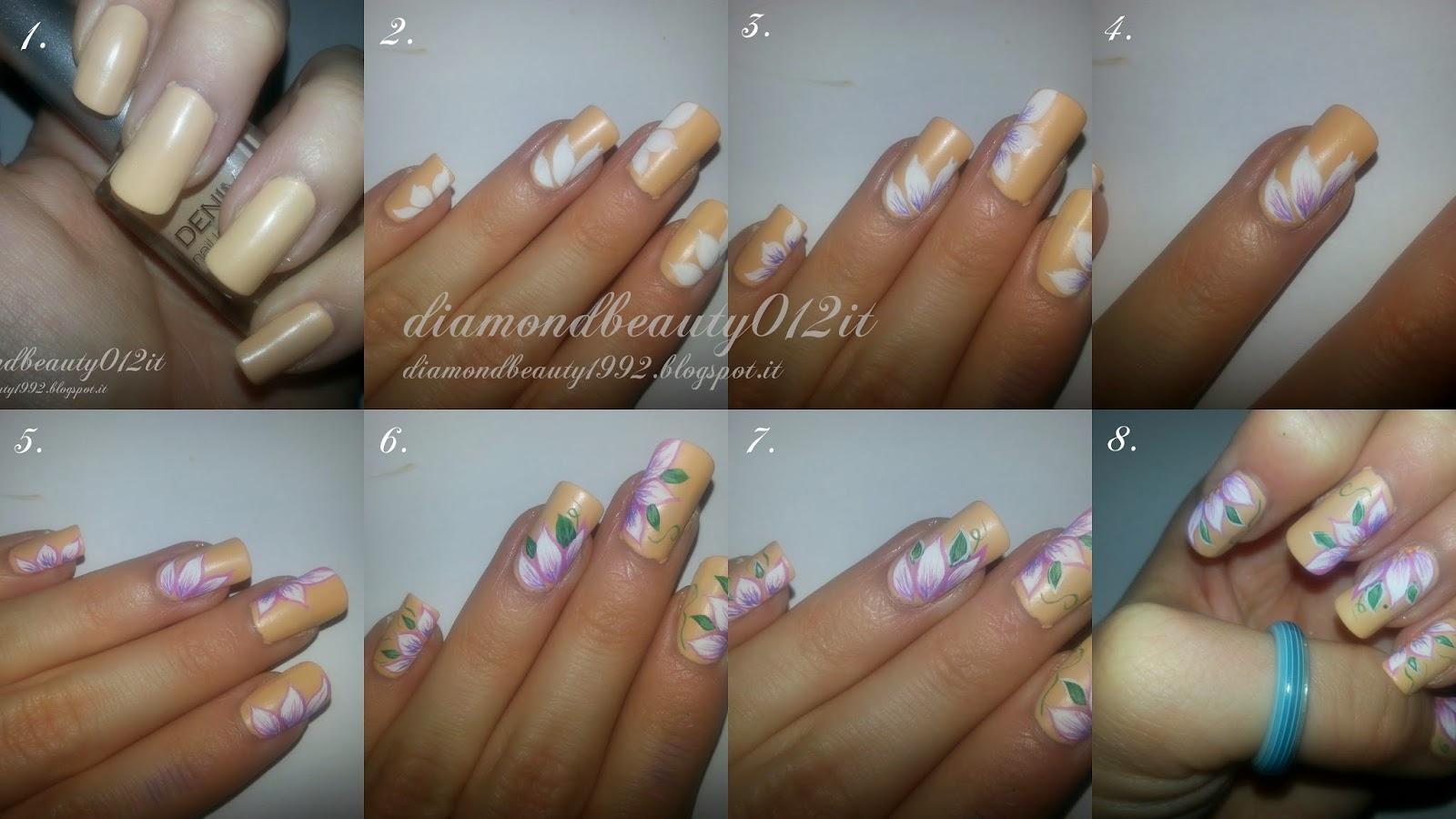 fiori in micropittura nail art