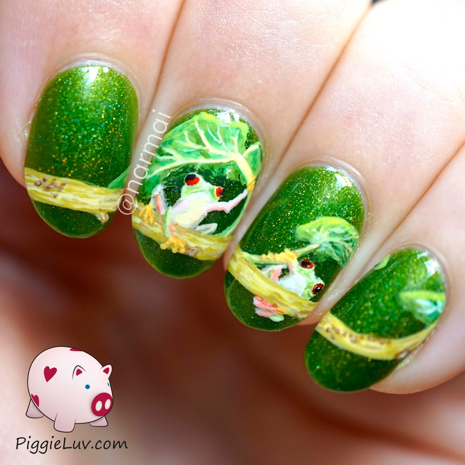Piggieluv freehand red eyed tree frog nail art why are frogs so happy because they eat what bugs them this gorgeous background polish is gothic gala lacquers lili st cyr it has a special kind of prinsesfo Choice Image