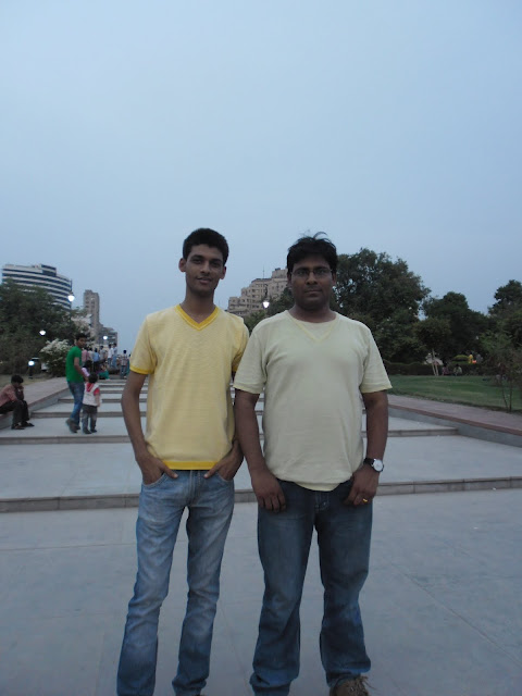 Anshu Dikshant and Manoj Bhawuk at Central Park in Connaught Place, New Delhi