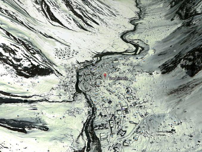 Badrinath Dham google earth Image