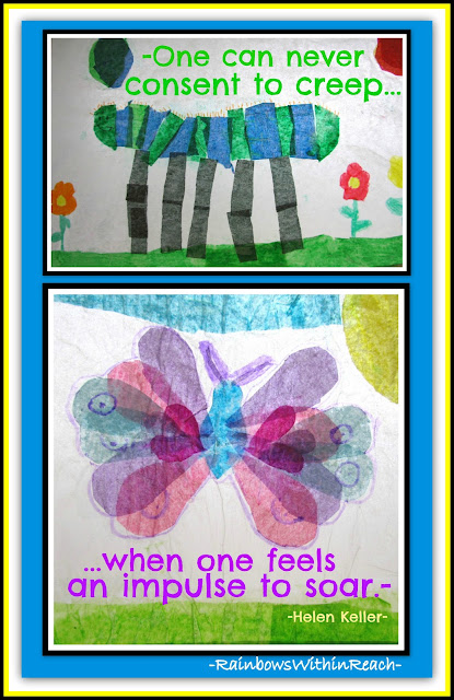 photo of: Helen Keller quotation with first grade tissue paper illustrations for caterpillar and butterfly