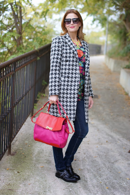 chicwish houndstooth coat, floral quilted sweatshirt, Sergio Amaranti, Fashion and Cookies, fashion blog