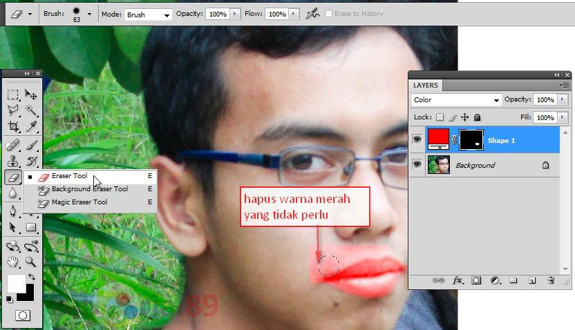 Cara membuat bibir merah dengan photoshop