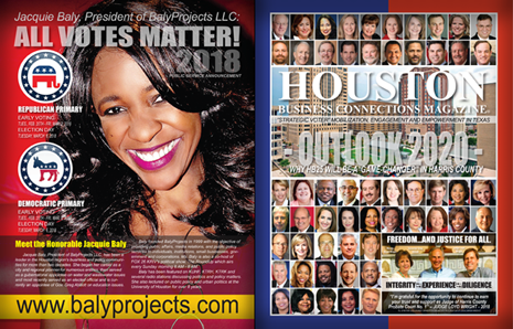 "FRONT AND BACK - HOUSTON BUSINESS CONNECTIONS MAGAZINE© ""STRATEGIC VOTER"" MOBILIZATION CAMPAIGN"