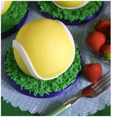 Wimbledon is just around the corner. To celebrate why not try your hand at a tennis ball cake made with yellow fondant icing?