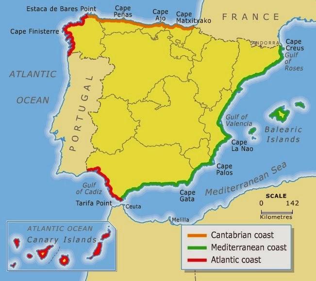 Spanish peninsular coasts