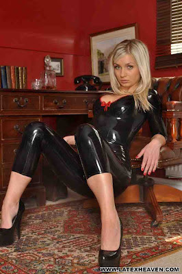 Hot Blonde Phoebe Posing in Black Latex Rita Catsuit