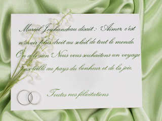 Felicitation mariage à rédiger sur carte