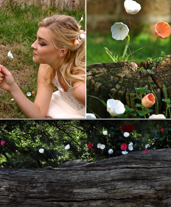 allestimento con fiori di carta per matrimoni ecologici