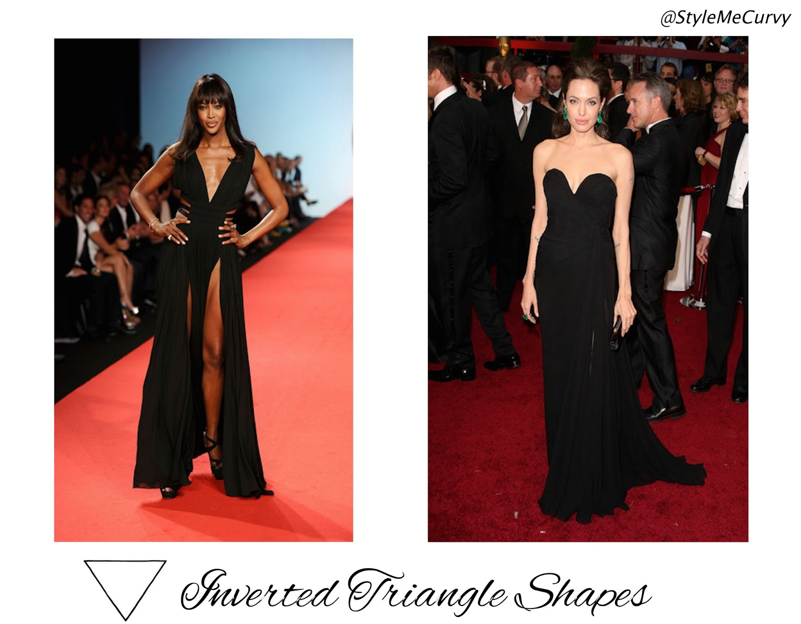 Triangle Shapes Naomi Campbell and Angelina Jolie