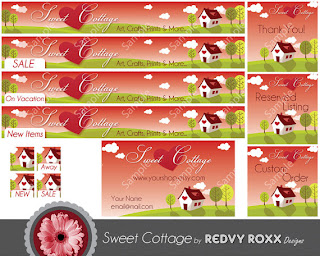 Cottage Style Graphics for Etsy shops from Redvy Roxx