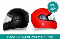 Deal of Day: Flat 30% Off on Vega – Full Face Helmet-Cliff worth Rs.854 for Rs.599 Only @ Snapdeal (3 Colour Options)