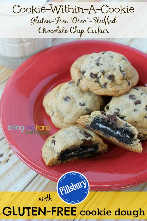 "Easy Gluten-Free Cookie-Within-A-Cookie ""Oreo"" Stuffed Chocolate Chip Cookies!"