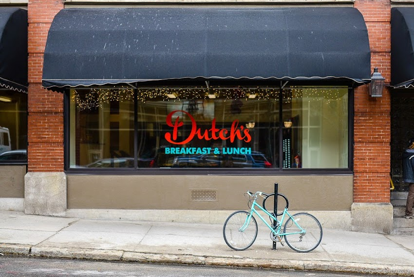 Dutch's Restaurant 28 Preble Street Portland, Maine and matching bicycle on sidewalk April 2015 photo by Corey Templeton