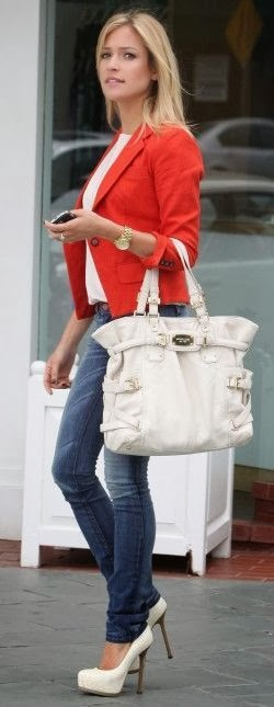 Red Jacket,Blue Jeans,White Heel Shoes And Beautiful White Hand Bag