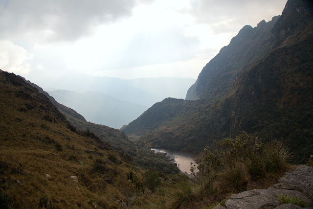 A photograph of a small lake taken on day 2 of the Inca Trail in Peru