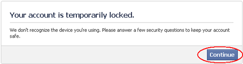 facebook account temporarily locked