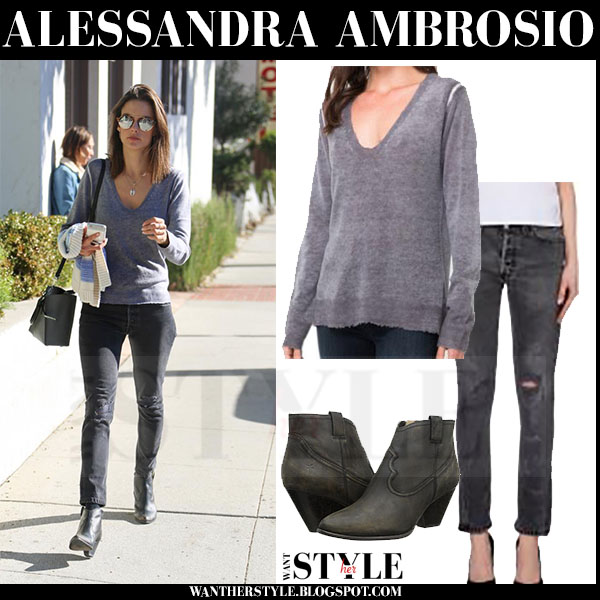 Alessandra Ambrosio in grey sweter, grey jeans and ankle boots frye reina what she wore streetstyle