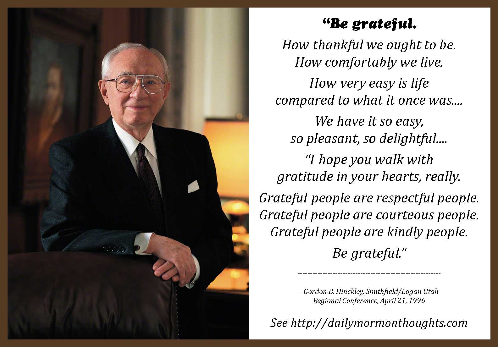 Gordon B Hinckley Quotes Daily Thought From Lds Leaders Gordon Bhinckley On Gratitude