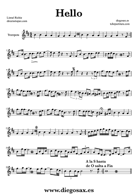 Tubepartitura Hello de Lionel Richie Partitura de Trompeta Música Balada Pop-Rock