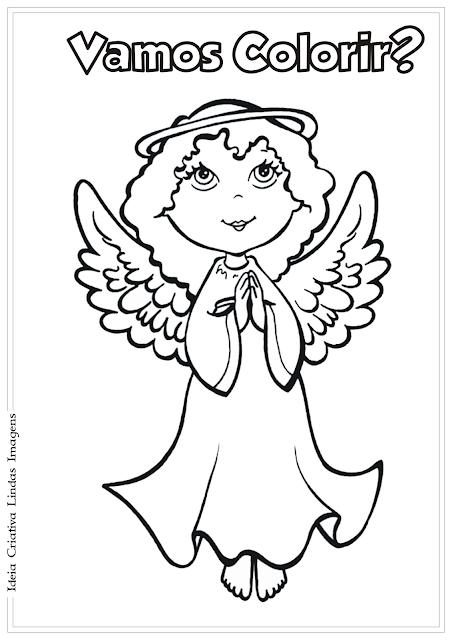 Anjo Natal desenho para colorir