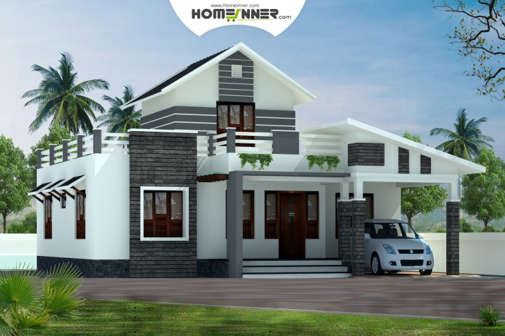 Low cost kerala home design 1379 sq ft 2 bhk house plan for Low building cost house plans