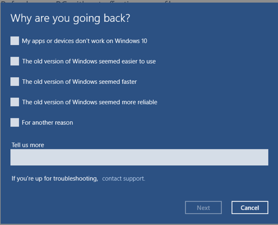 How to revert back to windows 8 1 from windows 10 update