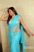 South, actress, Namitha, posing, latest, photoshoot, transparent, blue, saree, images