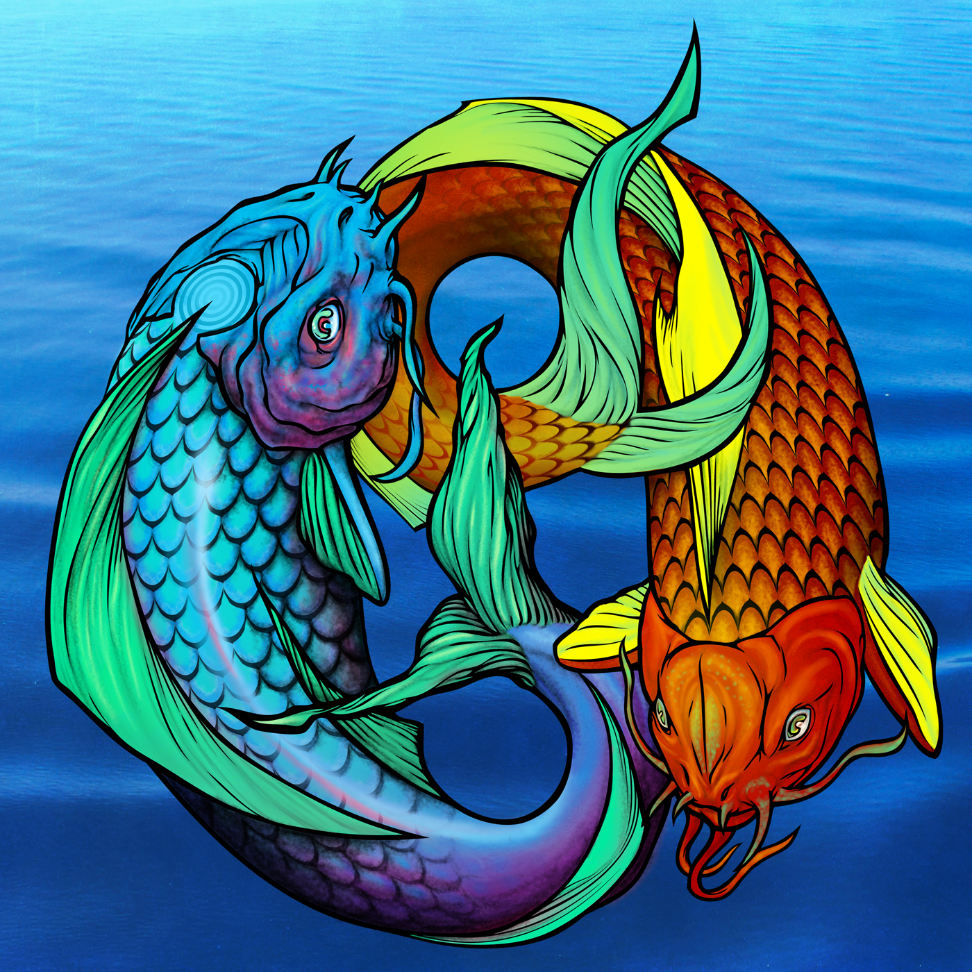 A wolf illustrations blog koi fish pisces ying yang for Koi fish pisces