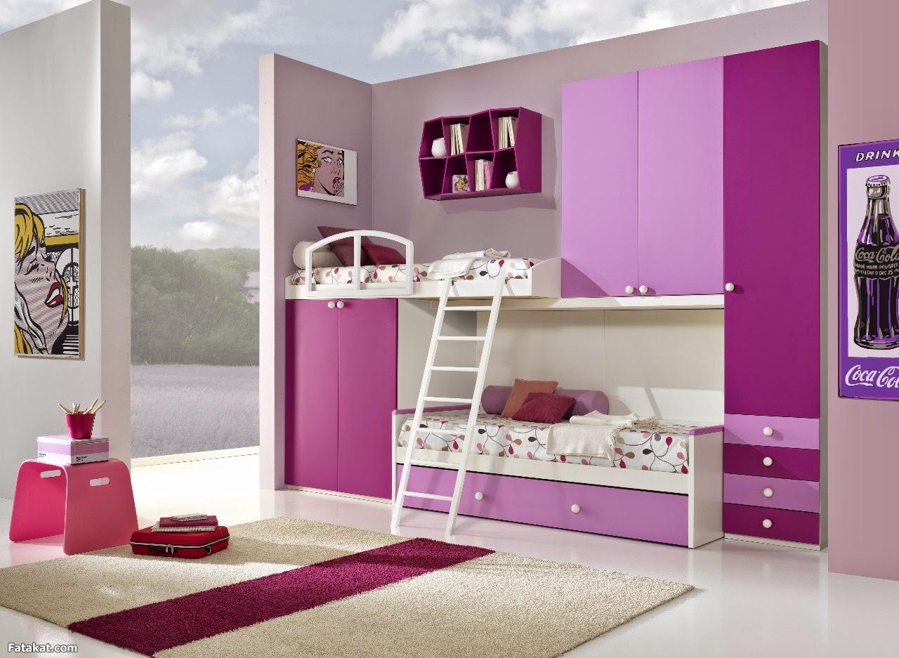 غرفة نوم اطفال باللون البنفسجى