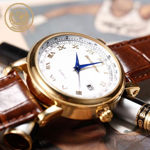 PACIFISTOR Noble Mens Quartz DATE Wrist Watch Rose Gold Leather Strap GIFT