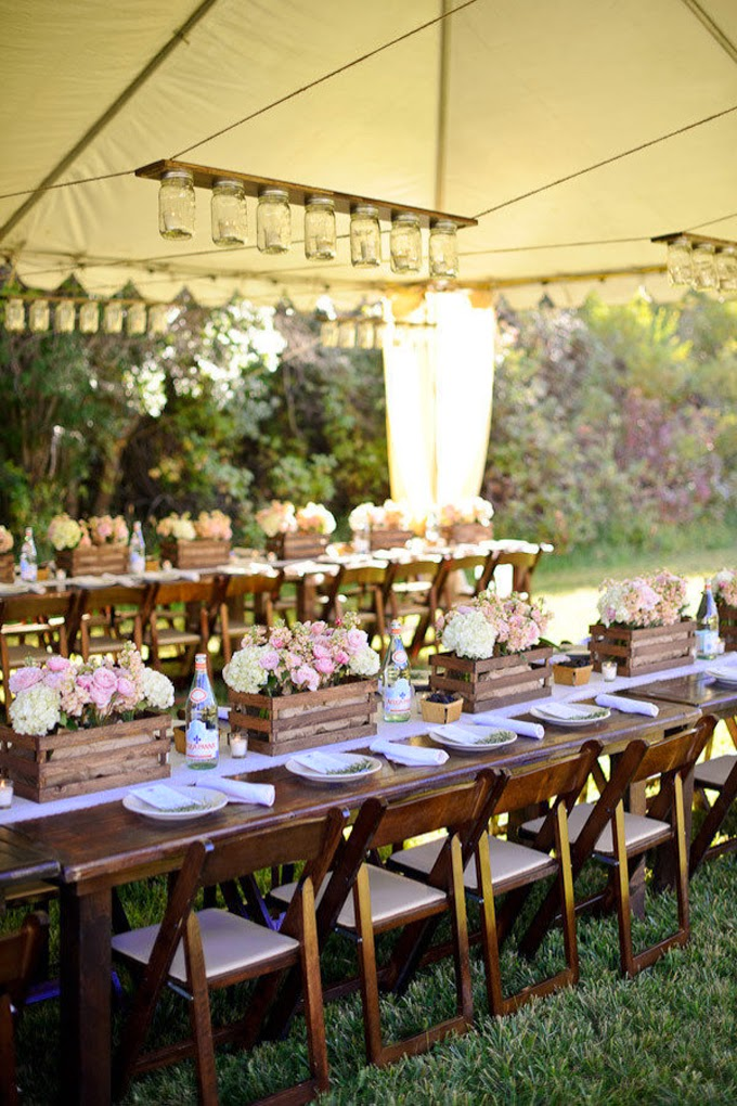 10 Country Chic and Rustic Wedding Tablescapes - Wooden Crates as Centerpieces