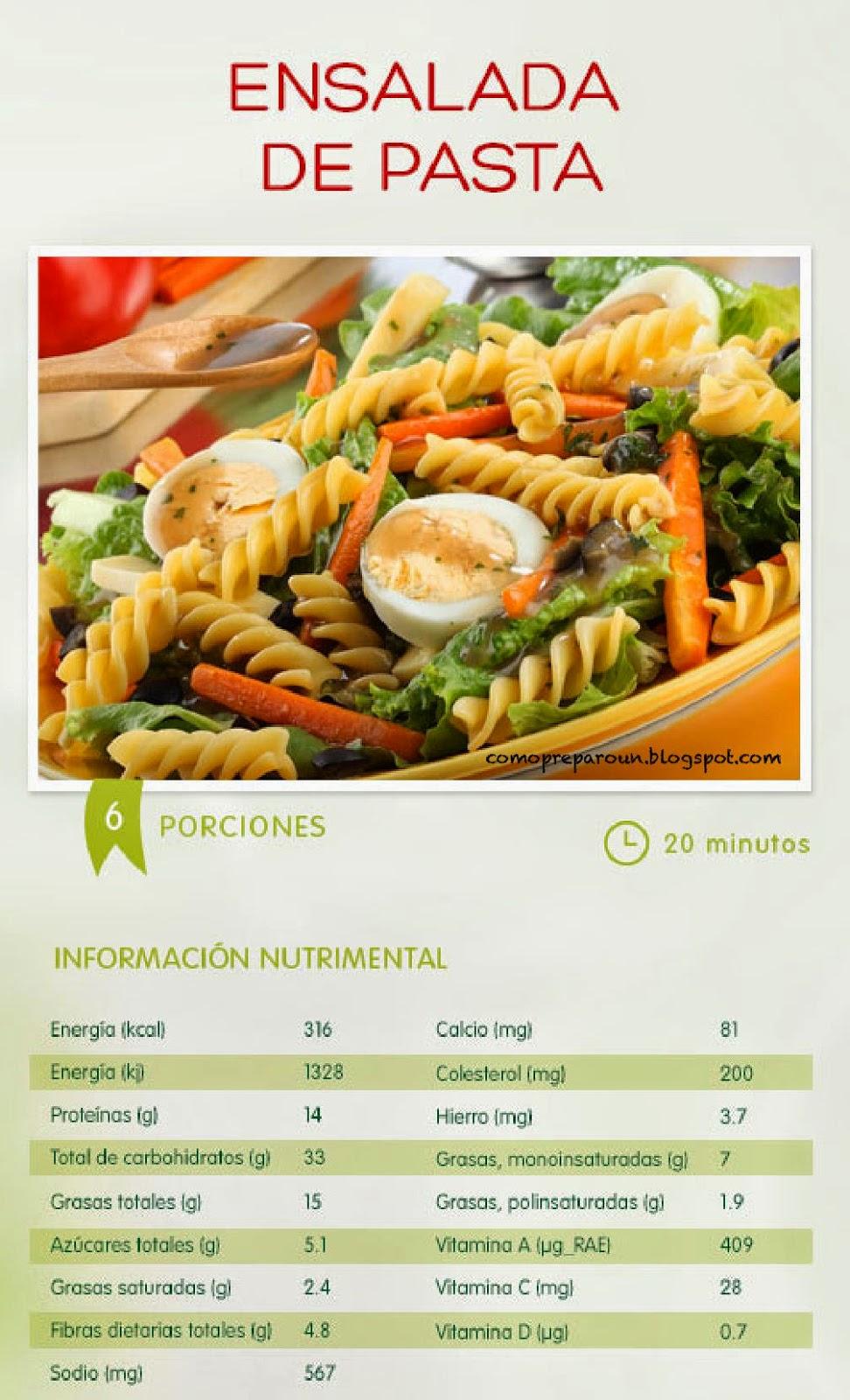 Recetas de comida saludable ensalada de pastas como for Resetas para comidas