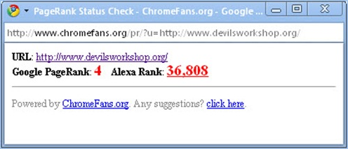 Google Chrome Plugin: PageRank Status Checker