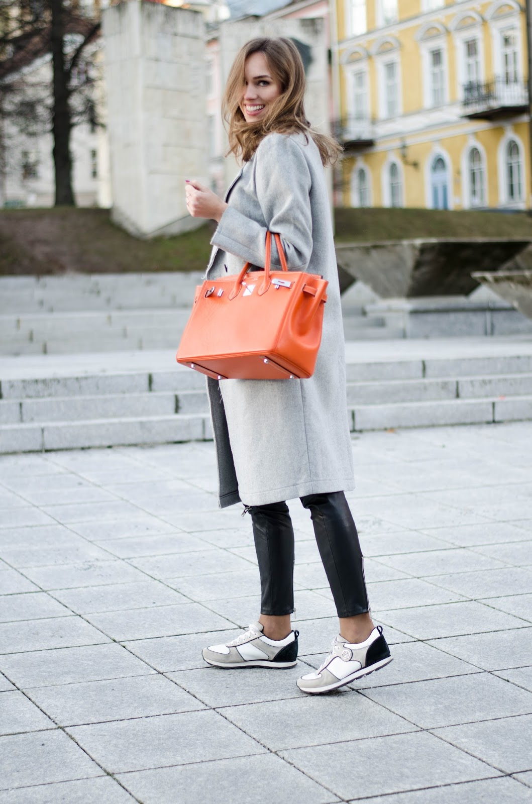 kristjaana mere hermes birkin bag casual winter outfit coat sneakers
