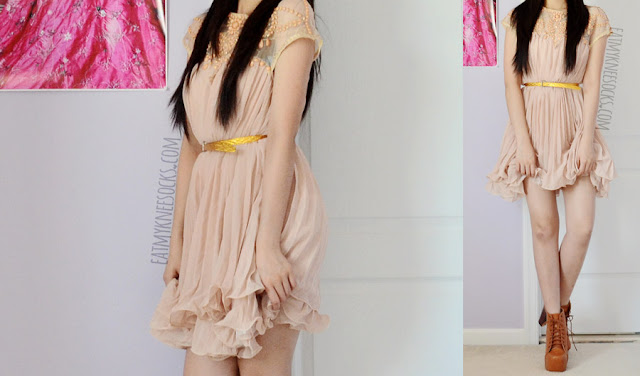 A sweet spring outfit inspired by ulzzang, gyaru, and Taiwanese fashion trends, with the beaded pleated apricot shift dress from SheIn and brown platform heeled booties.