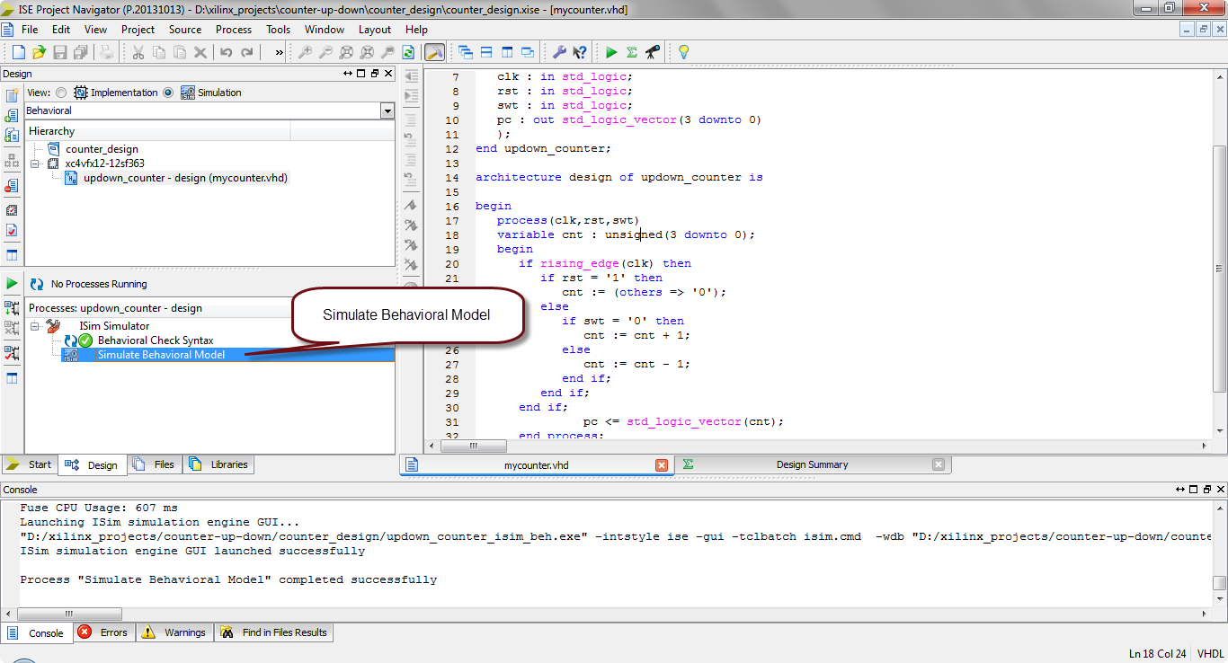 how to simulate vhdl code in xilinx?14