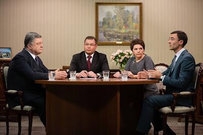 President Poroshenko was interviewed by Ukrainian TV channels