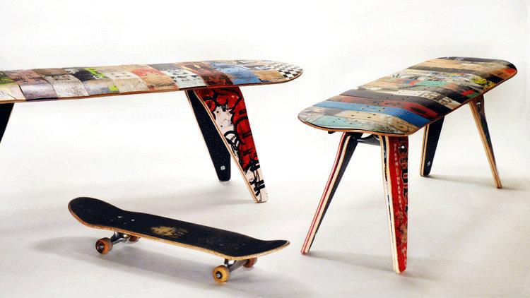 Sgabelli Da Appendere : Da skate a sgabelli design and recycle