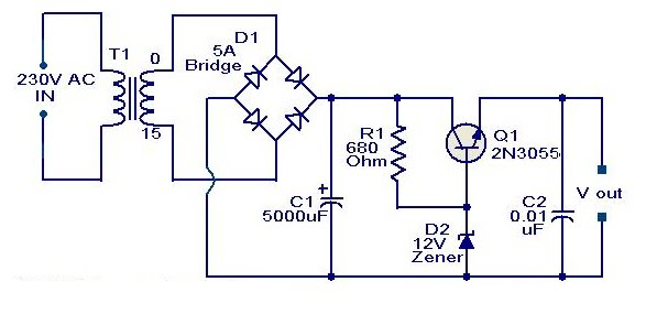 Schematic  U0026 Wiring Diagram  2n3055 Based On 12 Volt Adaptor