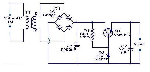Schematic  U0026 Wiring Diagram  2n3055 Based On 12 Volt Adaptor