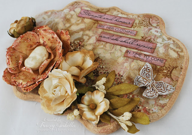 Scripture MIxed Media Art by Tracey Sabella for Scraps of Elegance with Prima Flowers and Resin