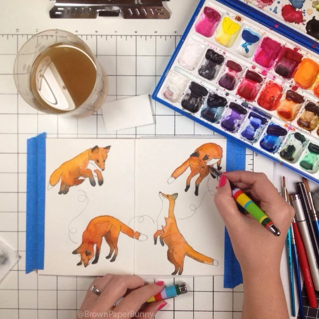 Jumping foxes illustration in watercolor by Jessica Mack BrownPaperBunny