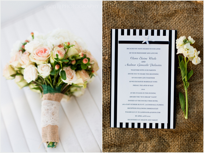 bouquet nautical invitation with burlap