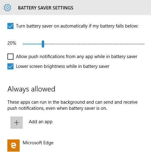 how to turn on battery life windows 10