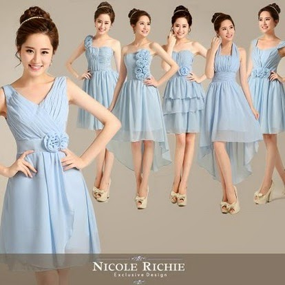 Six-Design Baby Blue Midi Bridesmaids Dress