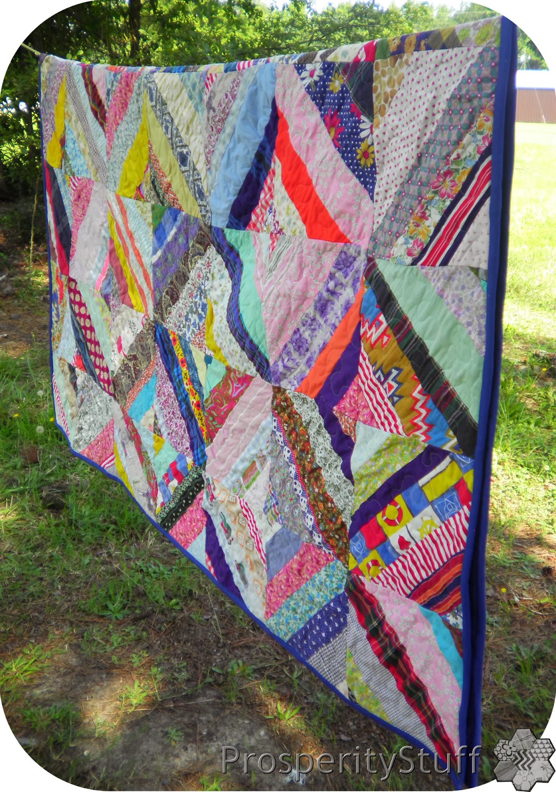 Finished Vintage Quilt - Strip-Pieced Diamonds
