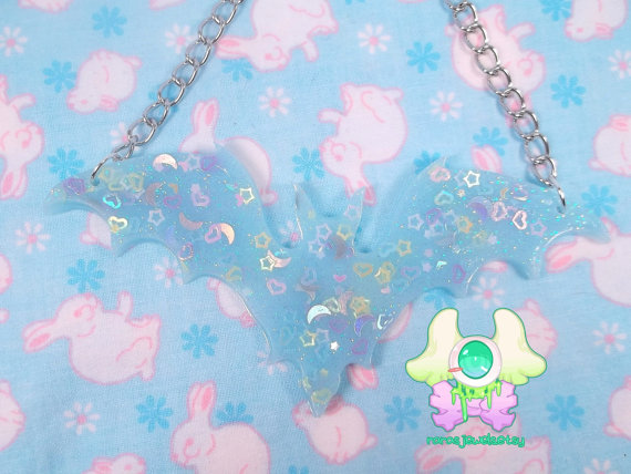 Blue glittery bat necklace from Rara's Jewels