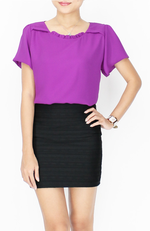 Royal Purple Ruffled Up Detail Blouse with Sleeves
