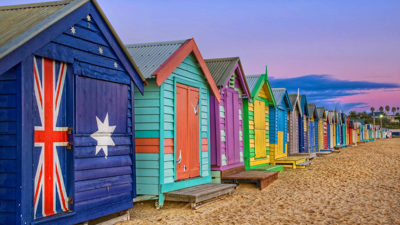 Bathing boxes line the beach at Brighton, Victoria, Australia (© J C Mitchell/Getty Images)